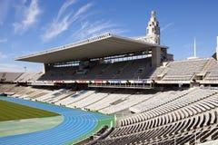 Tomma tribun på Barcelona Olympic Stadium på Maj 10, 2010 i Barcelona, Spanien Royaltyfri Fotografi