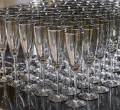 Tomma vinexponeringsglas för champagne Arkivbild
