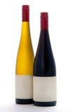 Tomma vit- och rött vinflaskor Royaltyfri Bild