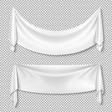 Tomma vita baner för rynkig vektor för textilförhängetyg på genomskinlig bakgrund royaltyfri illustrationer
