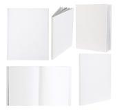 Tomma vita böcker som isoleras på vit Royaltyfria Foton