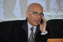 Tommaso Ausili, γενικός γραμματέας της ένωσης CISL Latium Στοκ φωτογραφία με δικαίωμα ελεύθερης χρήσης