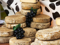 Tomme de Savoie cheese at french market Stock Image