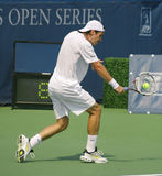 Tommy Haas Tennis Backhand. Tommy Haas, a star of German pro tennis, hitting a backhand at Leggmason 2007, in Washington DC. Unique shot with a ball on the Royalty Free Stock Photo