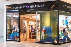 Tommy Hilfiger Children's Store in the mall Metropolis. RUSSIA, MOSCOW - MARCH 23, 2014: Tommy Hilfiger Children's Store in the mall Metropolis. Tommy Hilfiger Stock Photos