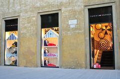 Tommy Hilfiger clothing store in Florence, Italy royalty free stock image