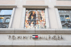 Tommy Hilfiger munich. Sign on the munich Tommy Hilfinger store with copy space above it Royalty Free Stock Photos