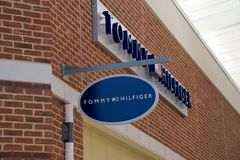 Tommy Hilfiger Shop Sign at the Tanger Outlet Mall in Southaven, Mississippi Royalty Free Stock Photo