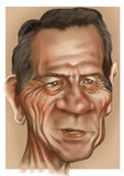 Tommy lee Jones. Painted detailed caricature from the movie actor tommy lee jones Royalty Free Stock Images