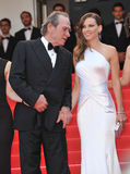 Tommy Lee Jones & Hilary Swank. CANNES, FRANCE - MAY 18, 2014: Tommy Lee Jones & Hilary Swank at the gala premiere of their movie The Homesman at the 67th Royalty Free Stock Image