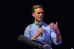 Tommy Vietor Pod Save The World Host. LOS ANGELES, CALIFORNIA - JANUARY 17, 2018: Pod Save The World host Tommy Vietor discussing the documentary `The Final Year Stock Images