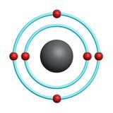 Átomo de carbón en el fondo blanco Fotos de archivo
