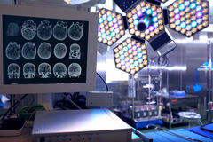 Tomogram in neurosurgical operating room Stock Images