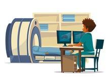 Tomographie-Karikaturillustration des Gehirns MRI von Doktor und von Patienten auf ärztlicher Untersuchung des tomographischen Ha Stockbild