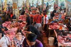 Tomohon Traditional Market. Tomohon, Indonesia - Dec 23, 2015: Meat of pork, wild boars, dogs, rats, bats in Tomohon Traditional Market. North Sulawesi Stock Image