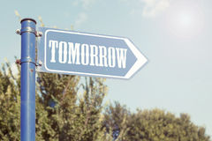 Tomorrow Road Sign Royalty Free Stock Photos