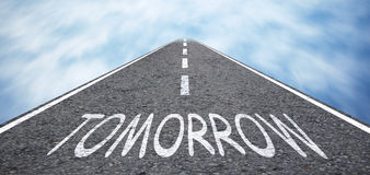 Tomorrow. Road with text tomorrow Royalty Free Stock Images
