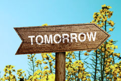 Tomorrow roadsign Royalty Free Stock Photos