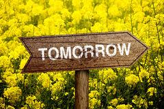 Tomorrow roadsign Stock Images