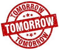Tomorrow round red stamp Royalty Free Stock Images