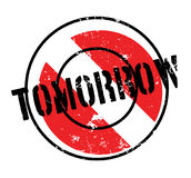 Tomorrow rubber stamp. Grunge design with dust scratches. Effects can be easily removed for a clean, crisp look. Color is easily changed Royalty Free Stock Photo