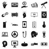 Tomorrow technology icons set, simple style. Tomorrow technology icons set. Simple set of 25 tomorrow technology vector icons for web isolated on white Royalty Free Stock Image