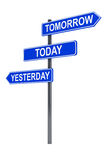 Tomorrow, today and yesterday road sign. On a white background Royalty Free Stock Images
