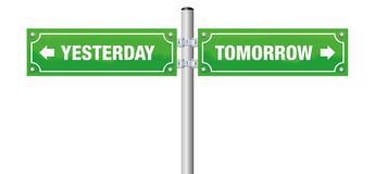 Tomorrow Yesterday Street Sign. YESTERDAY and TOMORROW, written on two green street signs - symbol for looking backwards and forwards, for bygone and challenge Royalty Free Stock Photography