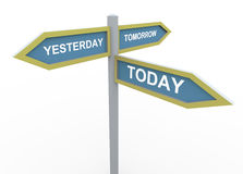 Tomorrow, yesterday and today. 3d road sign of text tomorrow, yesterday and today Stock Photo
