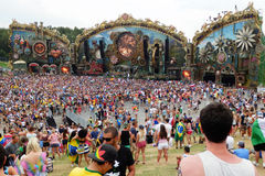 Tomorrowland. View of the main stage of the Tomorrowland festival in the town of Boom, Belgium (Friday, 25th of July 2014 Stock Image