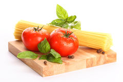 Tomotoes with spaghetti Royalty Free Stock Photo