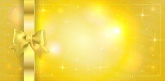 Tomowy szablon Złoty bilet, prezenta świadectwo, prezenta alegat Wakacyjnej nagrody karciany projekt z błyska gwiazdy na złotym zdjęcia royalty free