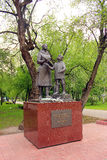 Tomsk. Monument to women and adolescents. Woman and teenager forge victory royalty free stock images