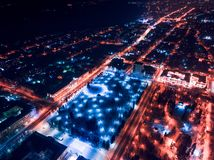 Tomsk nigth illumination cityscape Siberia, Russia. Tom river. Drone aerial top view royalty free stock images