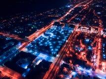 Tomsk nigth illumination cityscape Siberia, Russia. Tom river. Drone aerial top view stock photo
