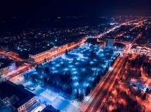 Tomsk nigth illumination cityscape Siberia, Russia. Tom river. Drone aerial top view royalty free stock photography
