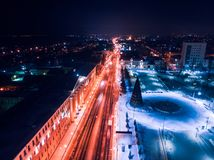 Tomsk nigth illumination cityscape Siberia, Russia. Tom river. Drone aerial top view stock photography