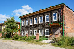 Tomsk, an old wooden houses Stock Photography