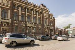 Tomsk, Rusia, calle de Lenin Frunze Avenue 10 de julio de 2017 Parte central de la ciudad Calles que caminan en verano Imágenes de archivo libres de regalías