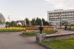 Tomsk, Rusland, het Vierkant van Lenin 10 juli, 2017 Beleid van de stad Het lopen op de stadsstraten in de zomer Stock Fotografie
