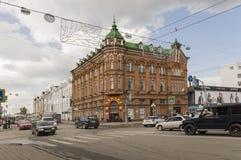 Tomsk, Rusland, het Vierkant van Lenin 10 juli, 2017 Centraal deel van de stad Het lopen van straten in de zomer Stock Foto