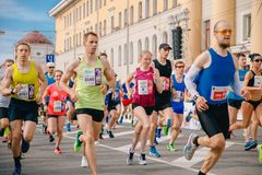 Tomsk, Russia - June 9, 2019: International Marathon Jarche athletes runners crowd are at start stock photos
