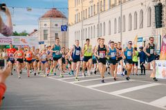 Tomsk, Russia - June 9, 2019: International Marathon Jarche athletes runners crowd are at start stock photography