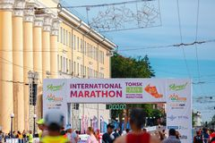 Tomsk, Russia - June 9, 2019: International Marathon Jarche athletes runners crowd are at start stock images