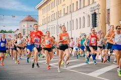 Tomsk, Russia - June 9, 2019: International Marathon Jarche athletes runners crowd are at start stock image