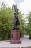 Tomsk, Russia, Lenin street. July 10, 2017. Walking on the city streets in summer. The monument of Heroes of Second World War in t. He park Royalty Free Stock Images