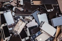Broken panels and screens of iPhone royalty free stock photos