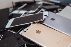Broken panels and screens of iPhone phones stock photography