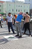 Tomsk, Russia, in summer day. Lenin Square. July 10, 2017. Men are showing tricks. People participating Stock Image