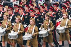 TOMSK, RUSSIE - 9 MAI 2016 : Cérémonie russe d'ouvrir le défilé militaire sur Victory Day, mai, 9, 2016 à Tomsk, la Russie Images stock